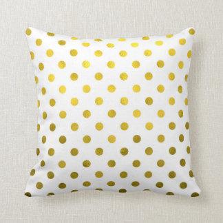 Gold Leaf Metallic Faux Foil Small Polka Dot White Throw Pillow