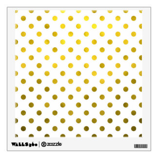 Gold Leaf Metallic Faux Foil Small Polka Dot White Wall Sticker
