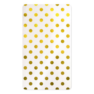 Gold Leaf Metallic Foil Small Polka Dot White Double-Sided Standard Business Cards (Pack Of 100)