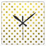 Gold Leaf Metallic Foil Small Polka Dot White Square Wall Clock