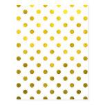 Gold Leaf Metallic Foil Small Polka Dot White Postcard