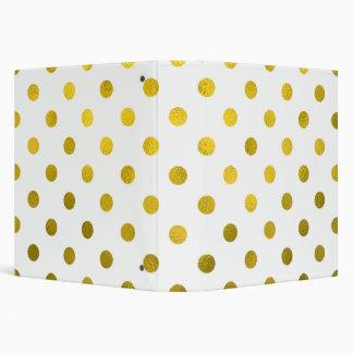 Gold Leaf Metallic Polka Dot on White Dots Pattern Binder