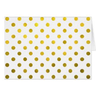 Gold Leaf Metallic Polka Dot on White Dots Pattern Card