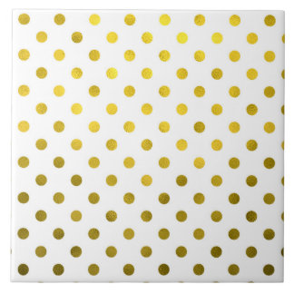 Gold Leaf Metallic Polka Dot on White Dots Pattern Ceramic Tile