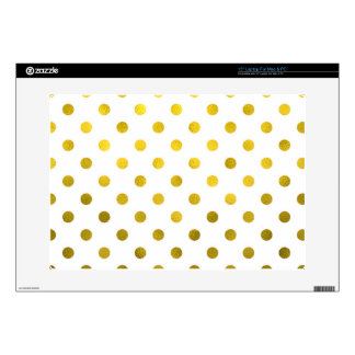 Gold Leaf Metallic Polka Dot on White Dots Pattern Decals For Laptops