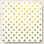 Gold Leaf Metallic Polka Dot on White Dots Pattern Drink Coaster