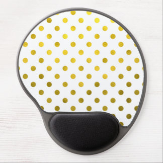 Gold Leaf Metallic Polka Dot on White Dots Pattern Gel Mouse Pad
