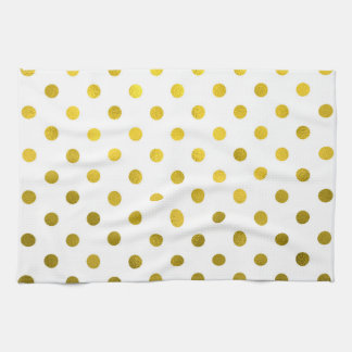 Gold Leaf Metallic Polka Dot on White Dots Pattern Hand Towel