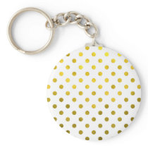 Gold Leaf Metallic Polka Dot on White Dots Pattern Keychain