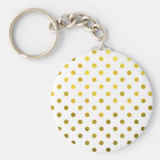 Gold Leaf Metallic Polka Dot on White Dots Pattern Keychain