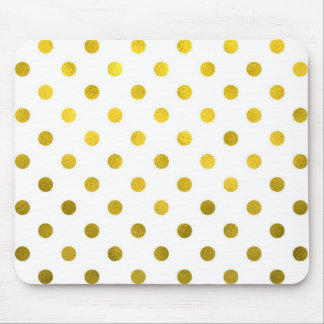 Gold Leaf Metallic Polka Dot on White Dots Pattern Mouse Pad