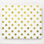 Gold Leaf Metallic Polka Dot on White Dots Pattern Mouse Pad