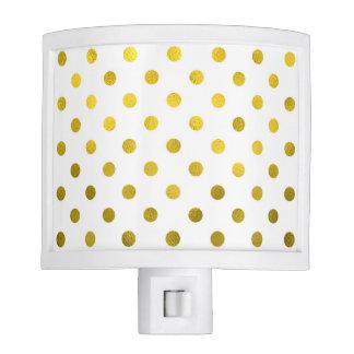 Gold Leaf Metallic Polka Dot on White Dots Pattern Night Light