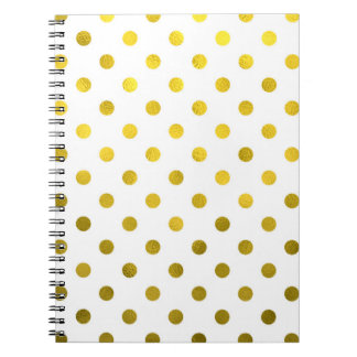 Gold Leaf Metallic Polka Dot on White Dots Pattern Spiral Note Book
