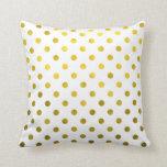 Gold Leaf Metallic Polka Dot on White Dots Pattern Throw Pillows