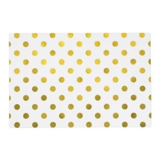 Gold Leaf Metallic Polka Dot On White Dots Pattern Placemat at Zazzle