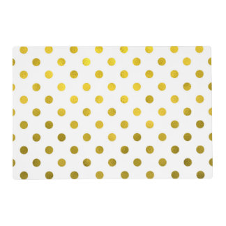 Gold Leaf Metallic Polka Dot on White Dots Pattern Placemat