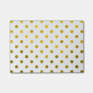 Gold Leaf Metallic Polka Dot on White Dots Pattern Post-it® Notes