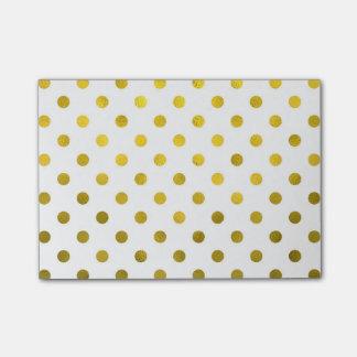 Gold Leaf Metallic Polka Dot on White Dots Pattern Post-it® Notes