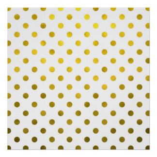 Gold Leaf Metallic Polka Dot on White Dots Pattern Poster