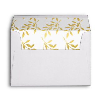 Gold Leaf Pattern Decorative Lined Weddings Envelope
