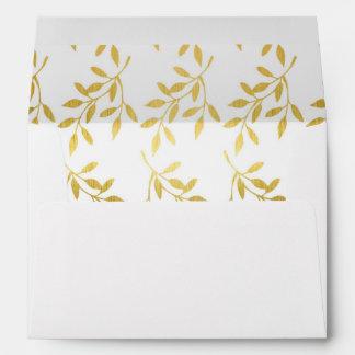 Gold Leaf Pattern Decorative Lined Weddings Envelope