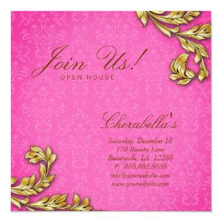 Gold Leaf Salon Elegant Damask Open House Pink Card