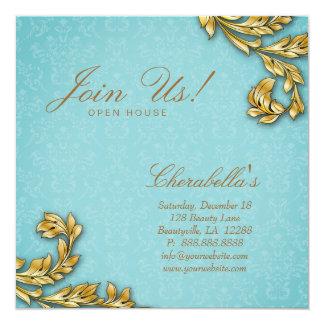 Gold Leaf Salon Elegant Damask Open House Promo Card