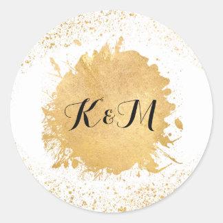 Gold Leaf Spray Postage & Stationary Classic Round Sticker