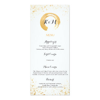 Gold Leaf Spray Reception Accessories 4x9.25 Paper Invitation Card