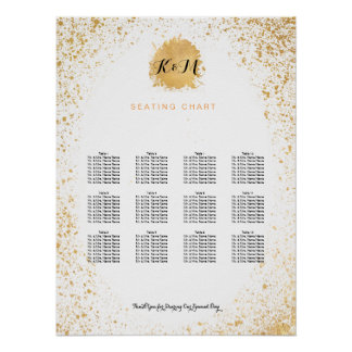 Gold Leaf Spray seating chart Poster
