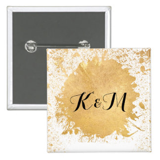 Gold Leaf Spray Wedding Gift 2 Inch Square Button