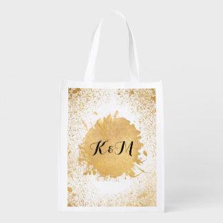 Gold Leaf Spray Wedding Gift Grocery Bag