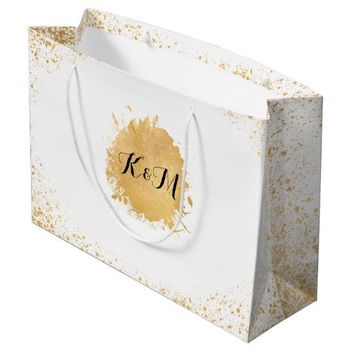 Gold Wedding Gift Bags : Gold Leaf Spray Wedding Gift Large Gift Bag Zazzle