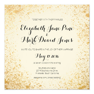 Gold Leaf Spray Wedding Invitation