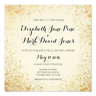 Gold Leaf Spray Wedding Invitation