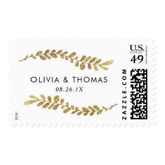 Gold Leaf Wedding Stamp, Faux Gold Postage