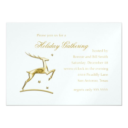 Gold Leaping Reindeer Holiday Party Invitation