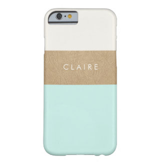 Gold leather and mint green barely there iPhone 6 case