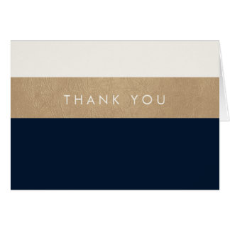 Gold leather and navy blue Thank You Stationery Note Card