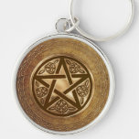 Gold & Leather Pentacle Silver-Colored Round Keychain