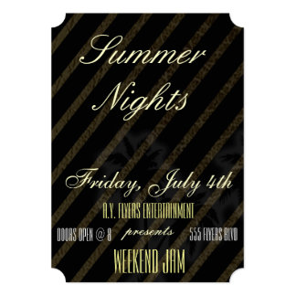 "Gold Leather Summer Nights Party/Club Flyer Invita 5"" X 7"" Invitation Card"