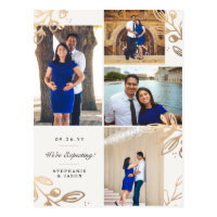 Gold Leaves 4 Photo Pregnancy Announcement Postcard