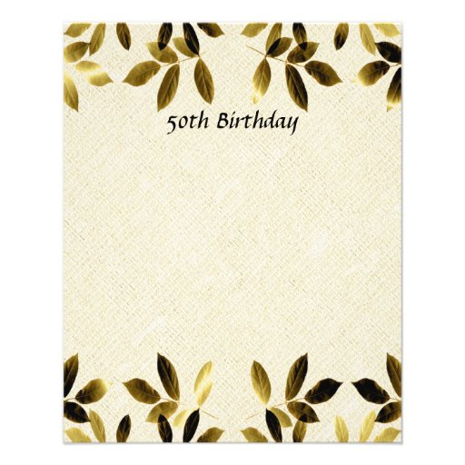 Gold Leaves 50th Birthday Two Sided Flyer Zazzle