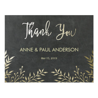 Gold leaves and chalkboard Thank You Card