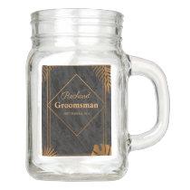 Gold Leaves and Geometric Frame Tropical Wedding Mason Jar