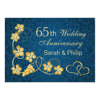 Gold leaves and joined hearts 65th Anniversary Invitation