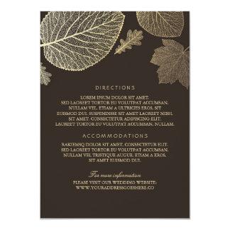 Gold Leaves Brown Wedding Details - Information Card