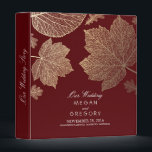 """Gold Leaves Burgundy Fall Wedding 3 Ring Binder<br><div class=""""desc"""">Fall burgundy color wedding binders with elegant gold foil &quot;effect&quot; leaves. This binder can be used for the &quot;guest book&quot; as well.</div>"""