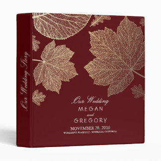 Gold Leaves Burgundy Fall Wedding 3 Ring Binder
